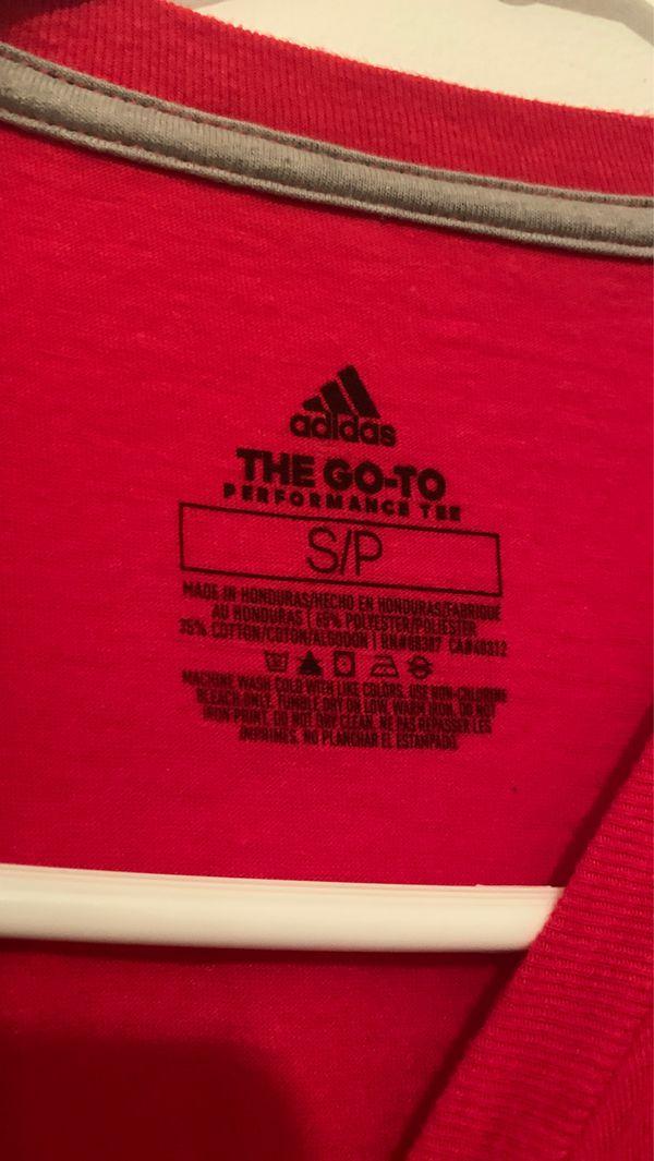 All red Adidas shirt