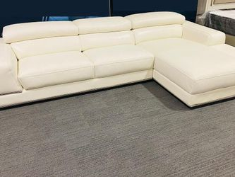 🎈NEW LUXURY LEATHER SECTIONAL SOFA WITH RECLINING BACKREST IN WHITE $995🎈 for Sale in Dallas,  TX