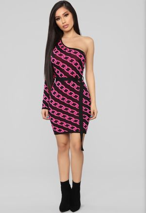 FASHION NOVA ONE SHOULDER SWEATER DRESS NEON PINK SIZE SMALL for Sale in Glendale, CA