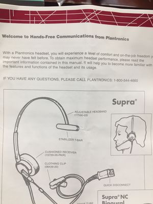 Plantronics Supra Corded Monaural (1) Headset for Sale for sale  Newark, NJ
