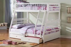 Twin/Full Bunk Bed AND Drawers - 37040 - White E for Sale in Pomona, CA
