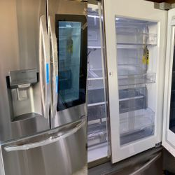 NEW OUT OF BOX LG KNOCK KNOCK INSTA VIEW STAINLESS STEEL REFRIGERATOR WITH DOUBLE ICE MAKER for Sale in Ontario,  CA