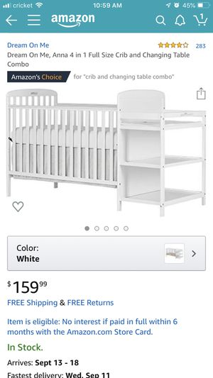 Dream on me 4 in 1 crib and changing table combo + crib mattress + crib bumper sheets + 2 mattress fitted sheets for Sale in Evansville, IN