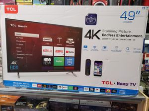 """BRAND NEW IN BOX. 49"""" LED SMART TV AVAILABLE BY TCL WITH HDR AND ROKU STREAMING. for Sale in Los Angeles, CA"""