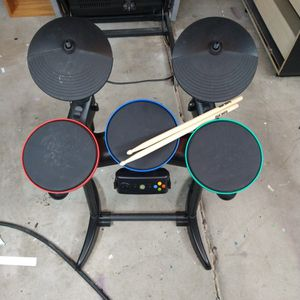 Wireless Guitar Hero Drums Xbox 360 5 Button Set With Sticks for Sale in Glendale, AZ