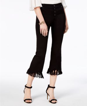 Inc Cropped Fringe-Trim Jeans, Created for Macy's - Black Size 12 for Sale in Miami, FL