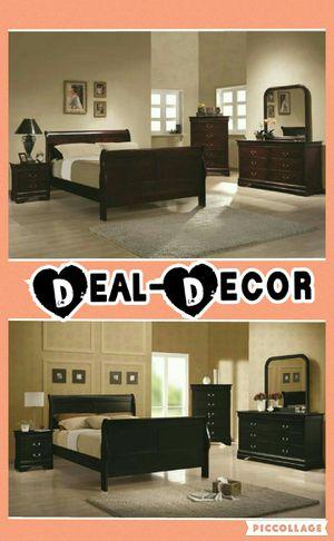 Black or Cherry 4 Piece Bedroom Set for Sale in Atlanta, GA