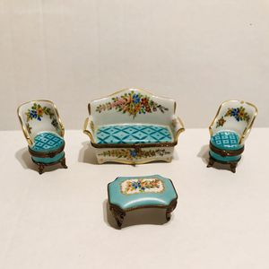 Vintage Limoges Complete Trinket Set Absolutely Stunning Couch, End Chairs and Table Trinket Boxes 1950's All in excellent condition Retail over for Sale in Riverside, CA