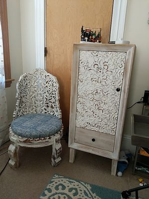 Wood hand carved decorative chair and cabinet for Sale in Winthrop, MA