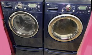 Blue LG Steam Washer & Dryer Set on Pedestals for Sale in Woodstock, GA