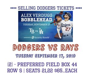 Dodgers vs Rays Tuesday September 17,2019 Bobblehead Night for Sale in Long Beach, CA