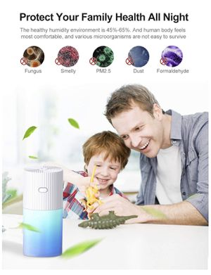 FREGENBO Mini Cool Mist Humidifier Portable - Personal 300ML and 7 Colors LED Night Light with USB - Whisper Quiet Operation Automatic Shut-Off for H for Sale in Grand Prairie, TX