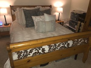 Queen Wrought Iron and Pine Bedroom Set for Sale in San Jose, CA