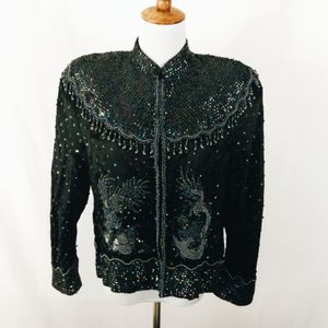 Rare Vintage Black Dragon & Phoenix Beaded Jacket for Sale in Murfreesboro, TN