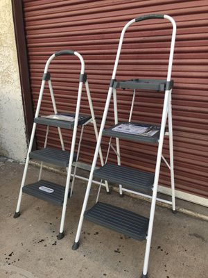 check out cc7a2 03687 Two 2 white metal 3 step ladder Cosco  30 for Sale in Tempe, AZ