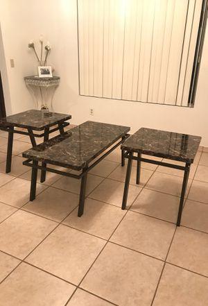 Brown tones/black marble coffee end table set for Sale in El Cajon, CA