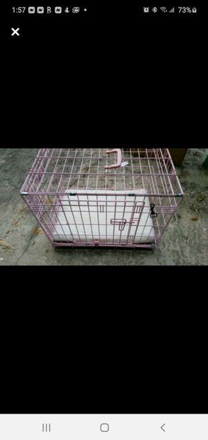 Pink small dog crate with divider and memory foam pad for Sale in Clearwater, FL