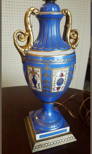 Antique 19th c. German Schmidt Porcelain footed Urn table Lamp Hand Painted Brass Blue for Sale in Arlington, VA