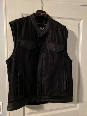 Motorcycle vest denim leather xl for Sale in Visalia, CA