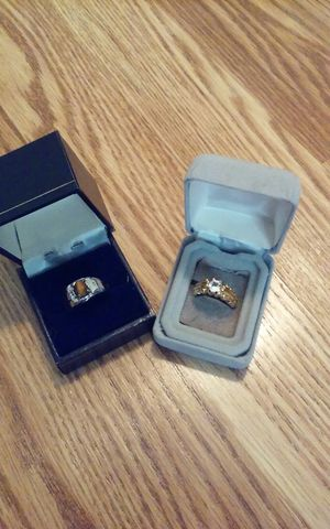 Man unix ring white 18k size 8 not real gold plated each $15 , man Diamond ring 14k size 7 not real gold plated each $15 for Sale in Central Falls, RI