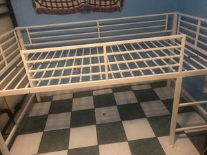 White Junior Loft Bed with Metal Slide Twin Bunk Size Kids Play Furniture FUN for Sale in North Springfield, VA