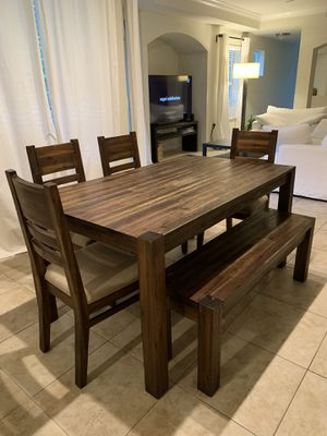 Dining set. Table 40 W x 73 L x 30 H. Material Solid acacia for Sale in Boca Raton, FL