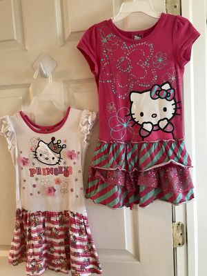 2 adorable little girls Hello Kitty sleeveless sun-dresses (size 4T) for Sale in Colorado Springs, CO