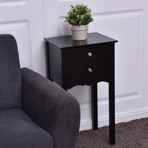 Side Table End Accent Table w/ 2 Drawers - Black for Sale in Pomona, CA