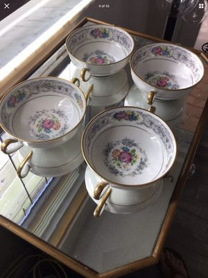4 Antique French Limoges China Cream Soup/Bouillon Floral bowls! for Sale in Palm Harbor, FL