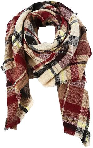 Trendy Women's Cozy Warm Winter Fall Blanket Scarf Stylish Soft Chunky Checked Giant Scarves Shawl Cape for Sale in Las Vegas, NV