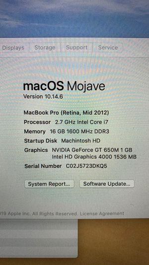 MacBook Pro ( Retina, Mid 2012 for Sale in Miami, FL