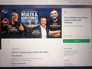 Ultimate wealth summit tony Robbins Gary vaynerchuck Orlando dr. Phillips 2 Tickets for Sale in Orlando, FL