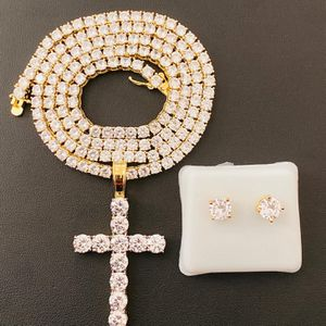 14k gold finish fully iced cross pendant with 4'mm tennis chain and bracelet & studs earrings ( COMBO SET ) for Sale in Los Angeles, CA