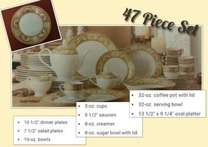 47 Piece Gold Accented Dinnerware Set for Sale in New London, MO