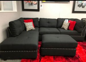 Black linen sectional sofa with ottoman new in boxes for Sale in Fort Lauderdale, FL