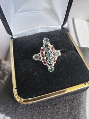 Sz 7 solid silver aquamarine Garnet for Sale in Meriden, CT
