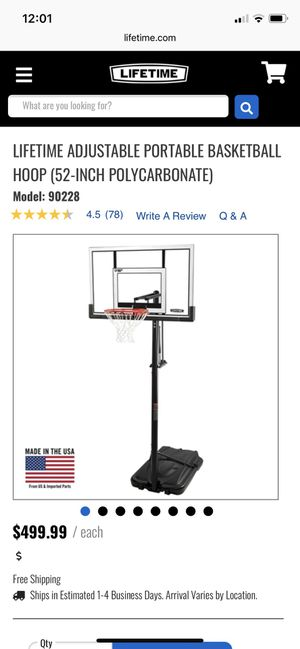 "Lifetime 52"" Adjustable Basketball Hoop for Sale in Englewood, CO"