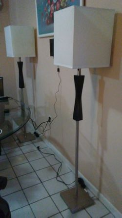 Floor lamps, Steel pedestal with heavy wood trim. $25 each for Sale in Orlando,  FL