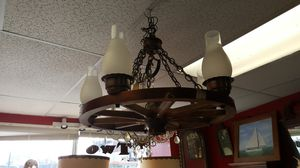 Large vintage wagon wheel chandelier lighting fixture for Sale in Medford, MA