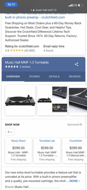 Music hall mmf- 1.3 turntable for Sale in Chicago, IL