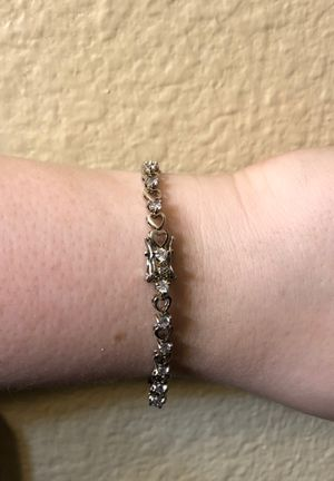 Sterling silver heart and Cubic zirconia stone bracelet for Sale in Las Vegas, NV