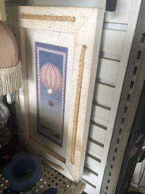 Small cute picture of balloon ride nice wood rope frame $3 for Sale in Fort Worth, TX