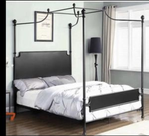Canopy metal bed with mattress for Sale in Garden Grove, CA