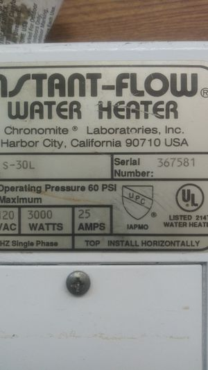 Chronomite instant flow water heater for Sale in CA, US