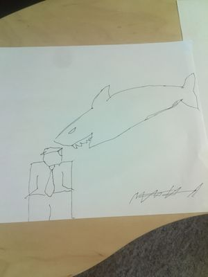 """Original """" TRUMP EATEN BY SHARK """" Drawing, Signed by artist for Sale in Lancaster, PA"""