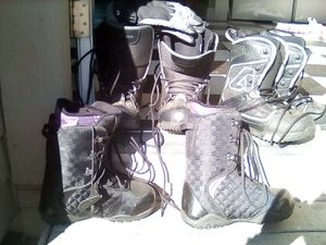 Snowboarding boots 2 pairs size 12 1 pair size 10 women's for Sale in Stockton, CA