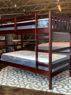 Twin Over Twin Cappucino Bunk Bed for Sale in Dallas,  TX