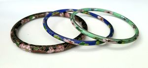 Three beautiful Cloisonne Bangle Bracelets - different colors - floral design. for Sale in East Providence, RI