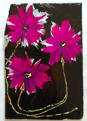 Hand Painted Floral Slate Ready to Hang Artwork for Sale in Gambrills, MD