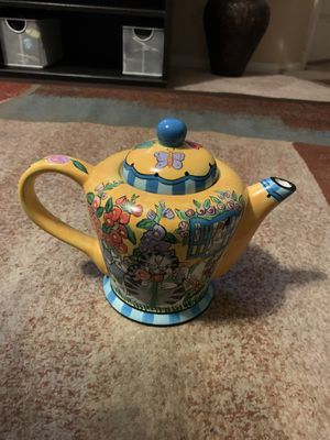 Catzilia 2004 Candace Reiter Designs Floral Cats Scene Teapot for Sale in Oceanside, CA